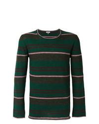 Jersey con cuello circular de rayas horizontales verde oscuro