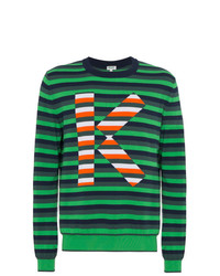 Jersey con cuello circular de rayas horizontales verde oscuro de Kenzo