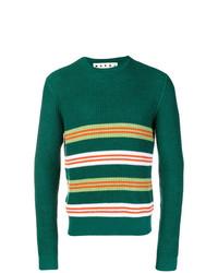 Jersey con cuello circular de rayas horizontales verde de Marni