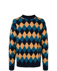 Jersey con cuello circular de rombos azul marino de Prada