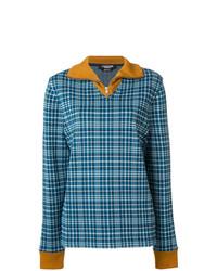 Jersey con cuello circular de tartán azul de Calvin Klein 205W39nyc