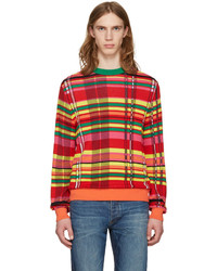 Jersey con cuello circular de tartán en multicolor