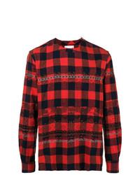 Jersey con cuello circular de tartán rojo de Sacai