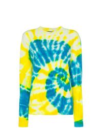 Jersey con cuello circular efecto teñido anudado en amarillo verdoso de The Elder Statesman