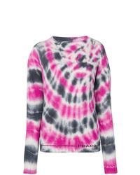 Jersey con cuello circular efecto teñido anudado rosado de Prada