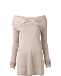 Jersey con cuello circular en beige de Derek Lam