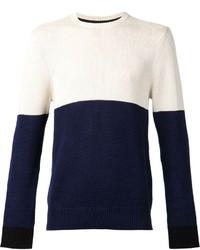 Jersey con cuello circular en blanco y azul marino
