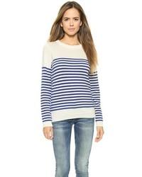Jersey con cuello circular en blanco y azul