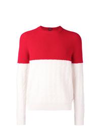 Jersey con cuello circular en blanco y rojo de BOSS HUGO BOSS