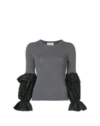 Jersey con cuello circular en gris oscuro de Isa Arfen