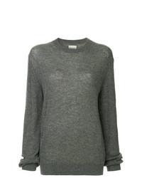 Jersey con cuello circular en gris oscuro de Khaite