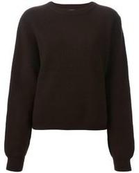 Jersey con cuello circular en marrón oscuro
