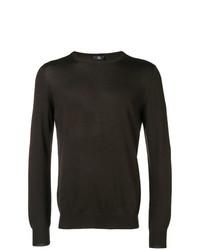 Jersey con cuello circular en marrón oscuro de Fay
