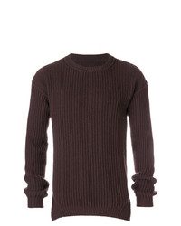 Jersey con cuello circular en marrón oscuro de Rick Owens