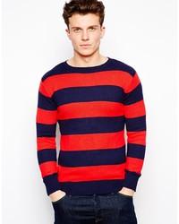 Jersey con cuello circular en rojo y azul marino