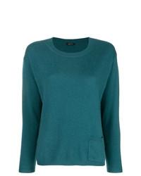 Jersey con cuello circular en verde azulado de Aspesi