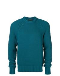 Jersey con cuello circular en verde azulado de Prada