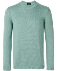 Jersey con cuello circular en verde menta de Roberto Collina