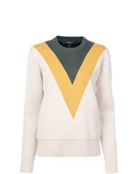 Jersey con cuello circular en zig zag en beige de Derek Lam
