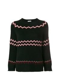 Jersey con cuello circular en zig zag en negro y blanco de Borgo Asolo