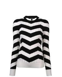 Jersey con cuello circular en zig zag en negro y blanco de Derek Lam