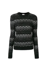 Jersey con cuello circular en zig zag en negro y blanco de Saint Laurent