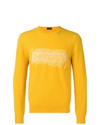 Jersey con cuello circular estampado amarillo