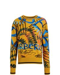 Jersey con cuello circular estampado amarillo de Burberry