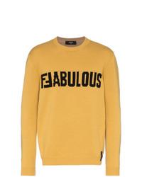 Jersey con cuello circular estampado amarillo de Fendi
