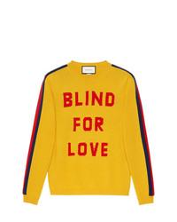 Jersey con cuello circular estampado amarillo de Gucci
