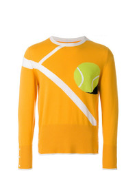 Jersey con cuello circular estampado amarillo de Thom Browne