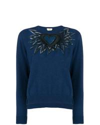 Jersey con cuello circular estampado azul marino de Fendi