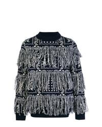 Jersey con cuello circular estampado azul marino de Sacai
