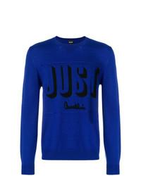 Jersey con cuello circular estampado azul de Just Cavalli