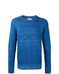 Jersey con cuello circular estampado azul de Kent & Curwen