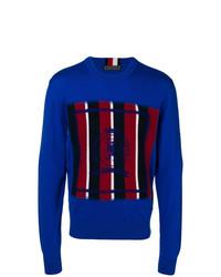 Jersey con cuello circular estampado azul de Tommy Hilfiger