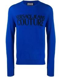 Jersey con cuello circular estampado azul de VERSACE JEANS COUTURE
