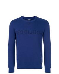 Jersey con cuello circular estampado azul de Woolrich