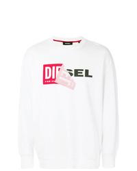 Jersey con cuello circular estampado blanco de Diesel