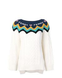 Jersey con cuello circular estampado blanco de Fendi