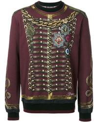 Jersey con cuello circular estampado burdeos de Dolce & Gabbana