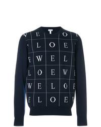 Jersey con cuello circular estampado en azul marino y blanco de Loewe