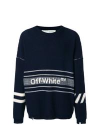 Jersey con cuello circular estampado en azul marino y blanco de Off-White