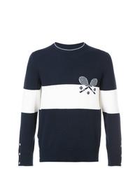 Jersey con cuello circular estampado en azul marino y blanco de Thom Browne