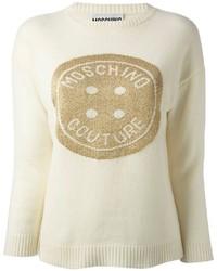 Jersey con cuello circular estampado en beige de Moschino