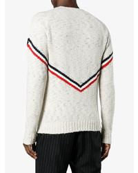 Jersey con cuello circular estampado en beige de Moncler