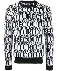Jersey con cuello circular estampado en blanco y negro de VERSACE JEANS COUTURE