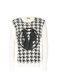 Jersey con cuello circular estampado en blanco y negro de Versace Jeans