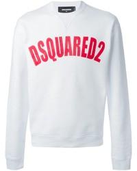 Jersey con cuello circular estampado en blanco y rojo de DSQUARED2