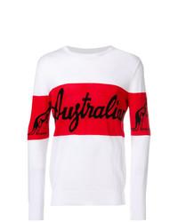 Jersey con cuello circular estampado en blanco y rojo de Gcds